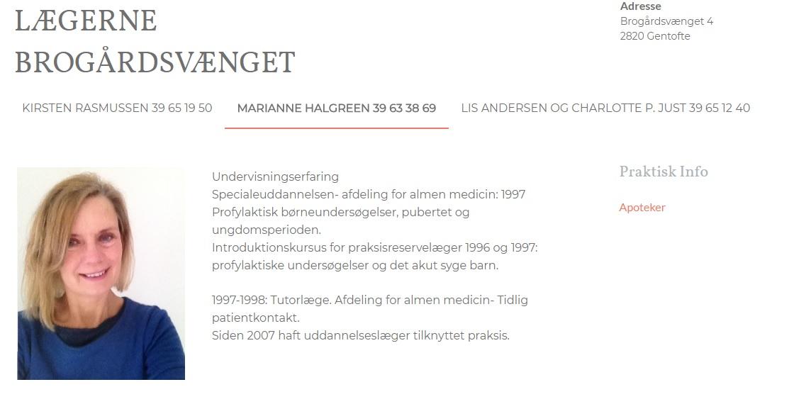 Samarbejde med Læge Marianne Halgreen
